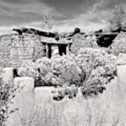 Rabbitbrush And Adobe Ruins In Sepia Poster