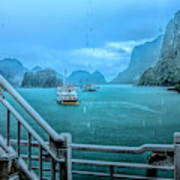 Rain Aboard Au Co Cruise Ha Long Bay  Poster