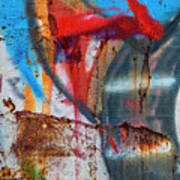 Red Blue Graffiti Abstract Square 2 Poster
