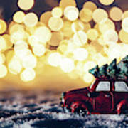 Red Car With Christmas Tree Driving Through Snow Poster