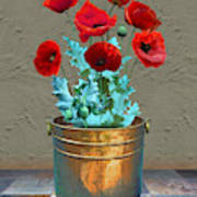 Red Patio Poppies Poster