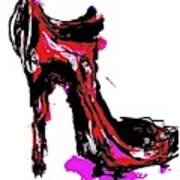 Red Shoe With High Heel Poster