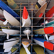 Rows Of Canoes In Boat House, Close-up Poster