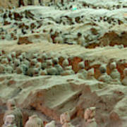 Rows Of Terra Cotta Warriors In Pit 1 Poster