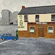 Ryans Pub And Swords Castle Painting Poster