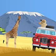 Safari Truck In African Savannah Poster