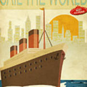 Sail The World - Vintage Poster With Poster