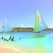 Sailboats At Sandy Ground In Anguilla  Poster