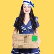 Sailor Pin Up Holding Nautical Supplies Poster