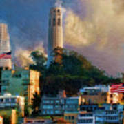 Salesforce Tower Coit Tower Transamerica Pyramid Poster