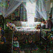 Scary Bedroom Surreal Google Deep Dream Poster