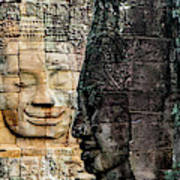 Sculptures At Bayon Temple, Angkor Poster