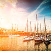 Sea Bay With Yachts At Sunset Poster