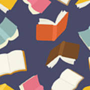 Seamless Flying Books Pattern Poster