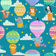 Seamless Pattern With Colorful  Hot Air Poster