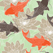 Seamless Pattern With Lotus And Carps Poster