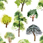 Seamless Pattern With Watercolor Trees Poster