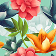 Seamless Tropical Flower, Plant Pattern Poster