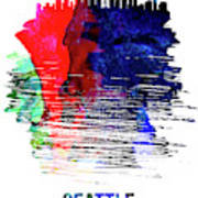 Seattle Skyline Brush Stroke Watercolor   Poster