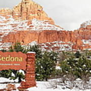 Sedona Red Rock Sign Snow Poster