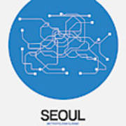 Seoul Blue Subway Map Poster