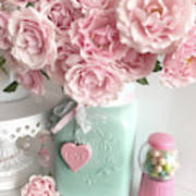 Shabby Chic Pink Roses In Aqua Mason Jar Romantic Cottage Floral Print Home Decor Poster