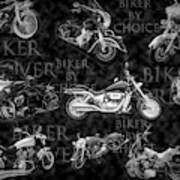 Shiny Bikes Galore In Black And White Poster