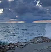 Shoreline Rain Clouds Poster