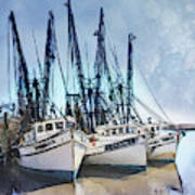 Shrimp Boats At Darien Poster