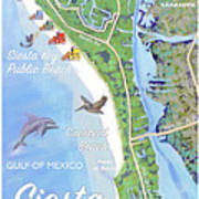 Siesta Key Illustrated Map Poster
