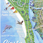 Siesta Key Illustrated Map With Green Lifeguard Station Poster