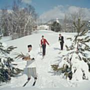 Skiing Waiters Poster