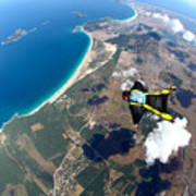 Skydive Wing Suit Over Brazilian Beach Poster