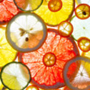 Sliced Citrus Fruits Background Poster