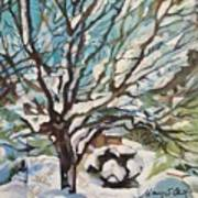 Snow Covered Cherry Tree Poster