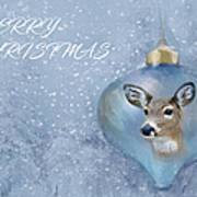Snowy Deer Ornament Christmas Image Poster