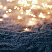 Snowy Winter Background With Fairy Lights. Poster