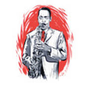 Sonny Stitt - An Illustration By Paul Cemmick Poster