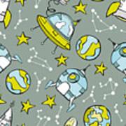 Space Print. Rocket, Flying Saucer Poster
