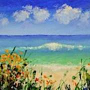 Spring Flowers And Sea And Clouds Poster
