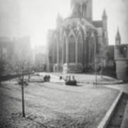 St Nicholas Church Ghent Belgium Black And White Poster