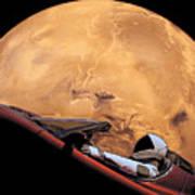 Starman In Orbit Around Mars Poster
