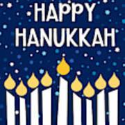 Starry Night Hanukkah Menorah- Art By Linda Woods Poster