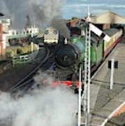 Steam Train Leaving Station Poster