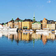 Stockholm Old City Fantastic Golden Hour Sunrise Reflection In The Baltic Sea Poster