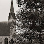 Stone Chapel - Black And White Poster