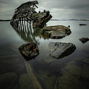 Sturgeon Bay Shipwreck In November Gloom Poster