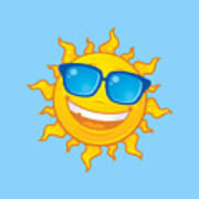 Summer Sun Wearing Sunglasses Poster