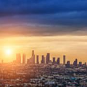 Sunrise Over Los Angeles City Skyline Poster