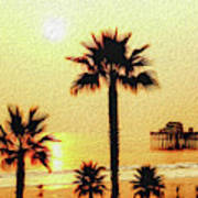 Sunset At The Beach In Oceanside California Poster